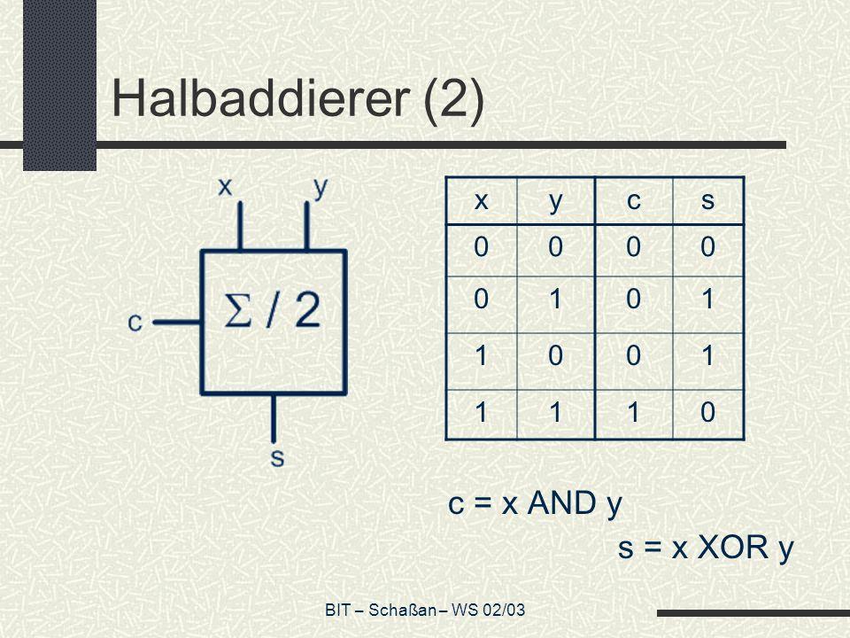 BIT – Schaßan – WS 02/03 Halbaddierer (2) c = x AND y s = x XOR y xycs 0000 0101 1001 1110