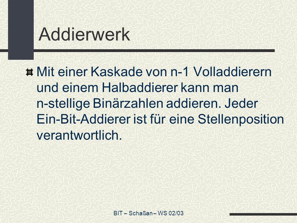 BIT – Schaßan – WS 02/03 Addierwerk Mit einer Kaskade von n-1 Volladdierern und einem Halbaddierer kann man n-stellige Binärzahlen addieren. Jeder Ein