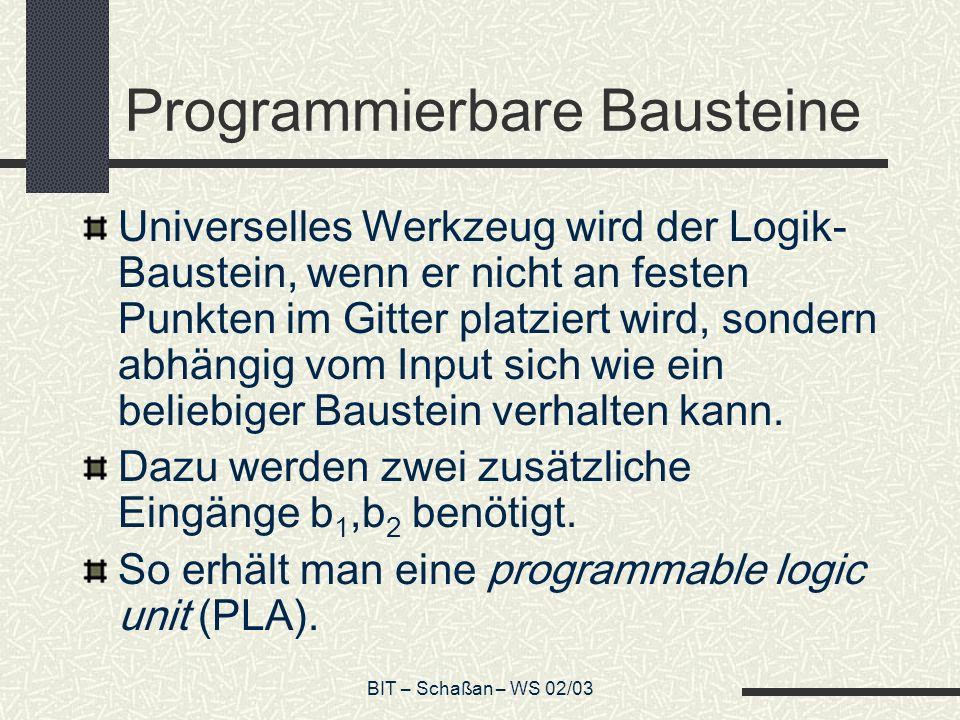 BIT – Schaßan – WS 02/03 Programmierbare Bausteine Universelles Werkzeug wird der Logik- Baustein, wenn er nicht an festen Punkten im Gitter platziert