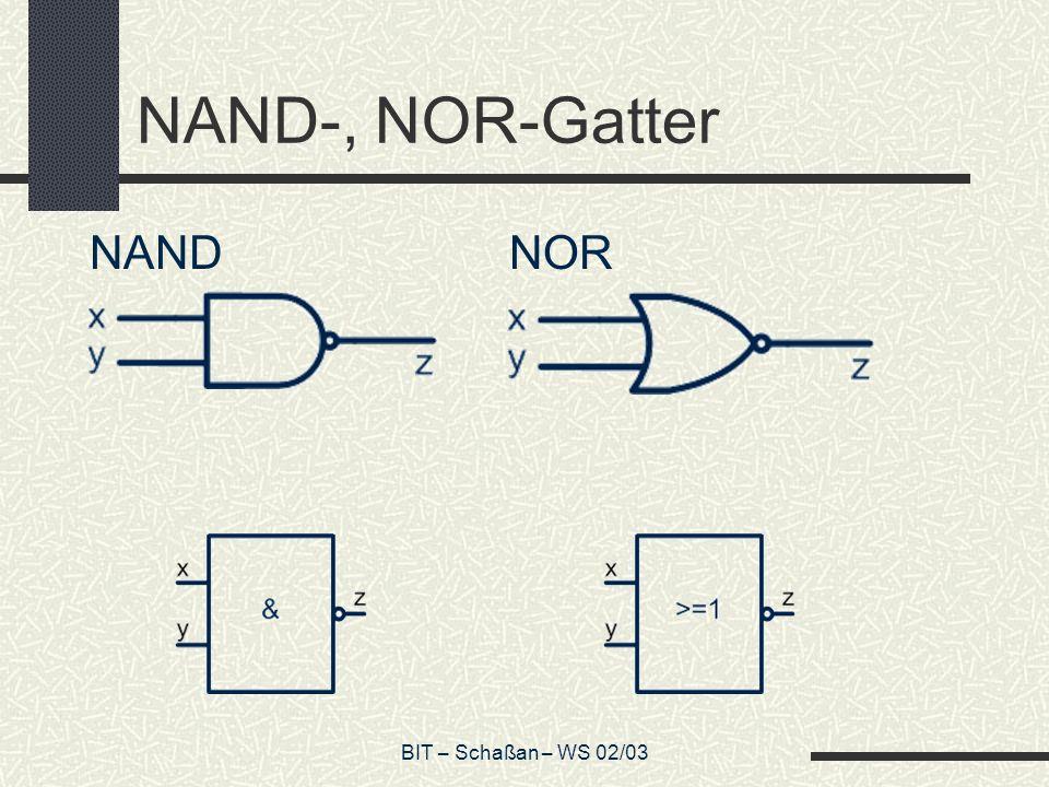 BIT – Schaßan – WS 02/03 Symbolisierung des Gitters In Kurzform kann das Logik-Gitter als Matrix symbolisiert werden, indem man den Bausteinen Zahlenwerte zuordnet: Identer= 0 Addierer= 1 Multiplizierer= 2 Negat-Multiplizierer= 3