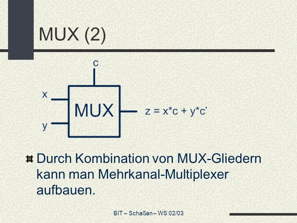 BIT – Schaßan – WS 02/03 Halbaddierer Um Werte zu addieren, brauchen wir mehrere Ausgänge (Summe und Übertrag) Eingänge x,y Ausgang s = Summenbit Ausgang c = Übertrag (carry)