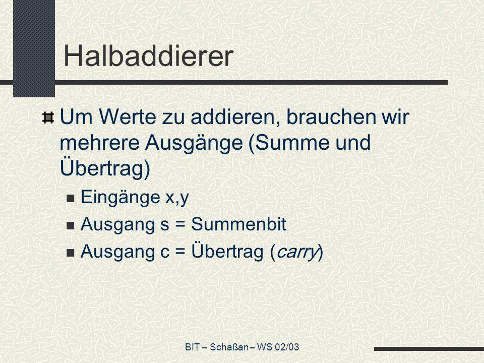 BIT – Schaßan – WS 02/03 Konstruktion des Logik-Gitters 1.