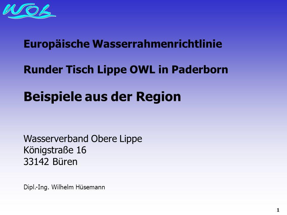 1 Europäische Wasserrahmenrichtlinie Runder Tisch Lippe OWL in Paderborn Beispiele aus der Region Wasserverband Obere Lippe Königstraße 16 33142 Büren