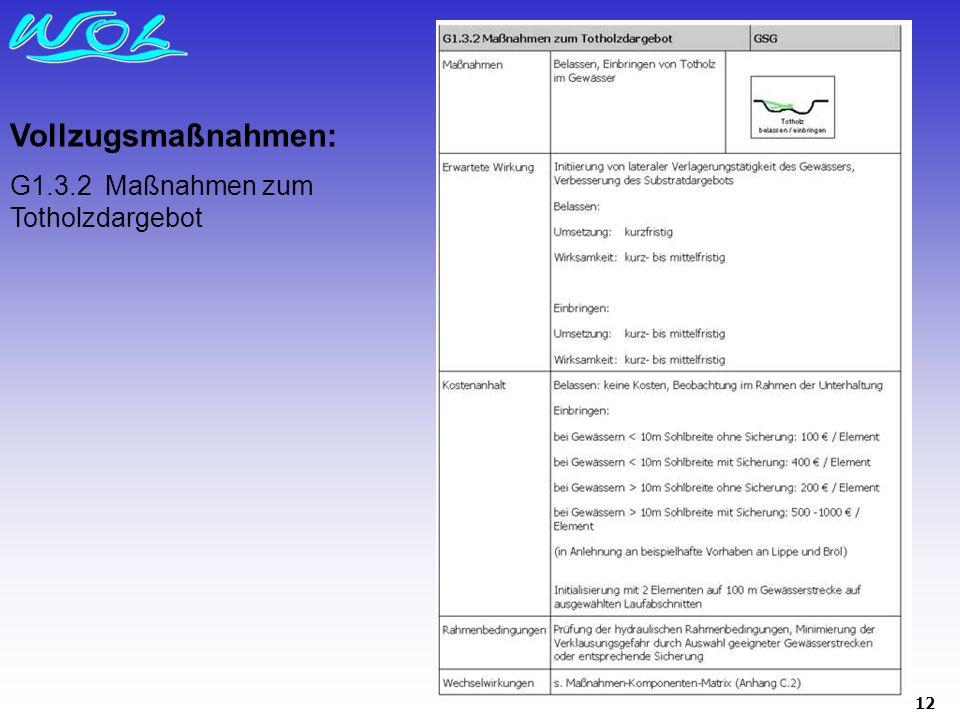 12 Vollzugsmaßnahmen: G1.3.2 Maßnahmen zum Totholzdargebot