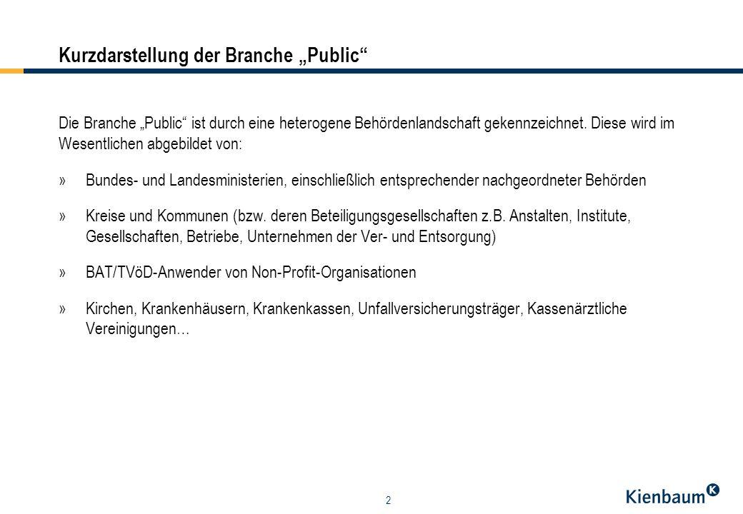 2 Kurzdarstellung der Branche Public Die Branche Public ist durch eine heterogene Behördenlandschaft gekennzeichnet. Diese wird im Wesentlichen abgebi