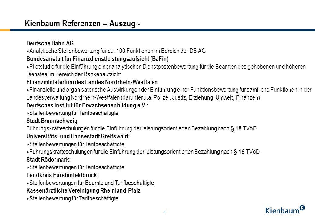 4 Kienbaum Referenzen – Auszug - Deutsche Bahn AG »Analytische Stellenbewertung für ca. 100 Funktionen im Bereich der DB AG Bundesanstalt für Finanzdi