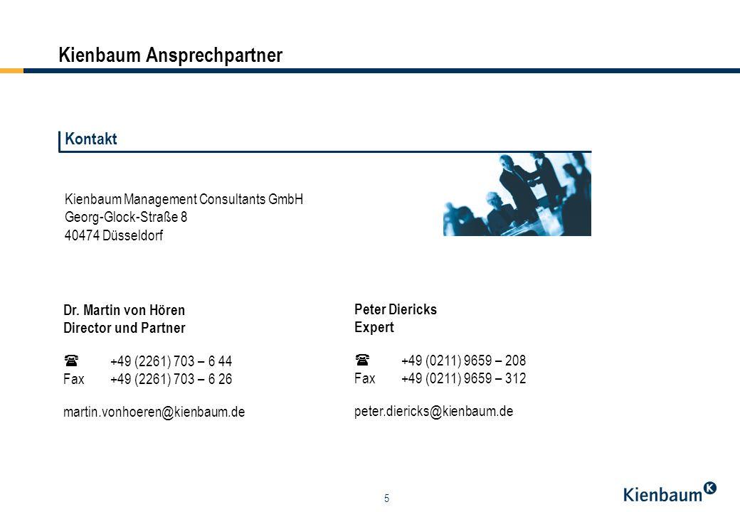 5 Kienbaum Management Consultants GmbH Georg-Glock-Straße 8 40474 Düsseldorf Dr. Martin von Hören Director und Partner +49 (2261) 703 – 6 44 Fax +49 (