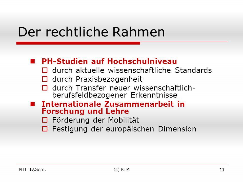 PHT IV.Sem.(c) KHA11 Der rechtliche Rahmen PH-Studien auf Hochschulniveau durch aktuelle wissenschaftliche Standards durch Praxisbezogenheit durch Tra