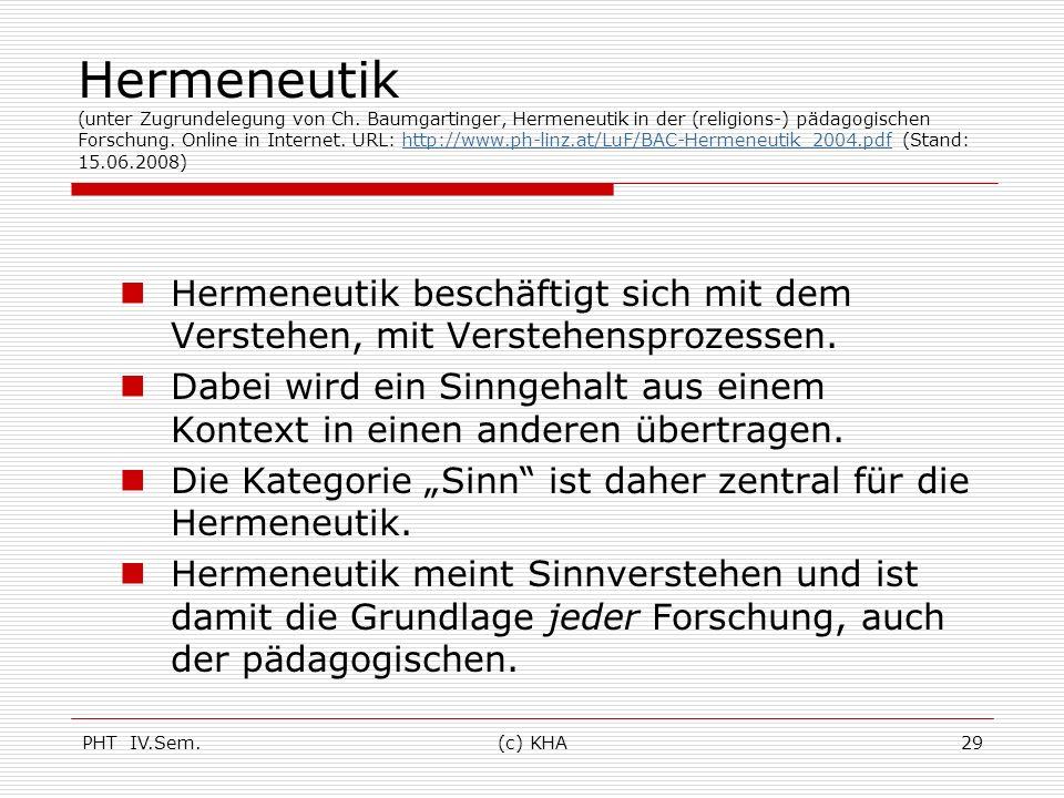 PHT IV.Sem.(c) KHA29 Hermeneutik (unter Zugrundelegung von Ch. Baumgartinger, Hermeneutik in der (religions-) pädagogischen Forschung. Online in Inter