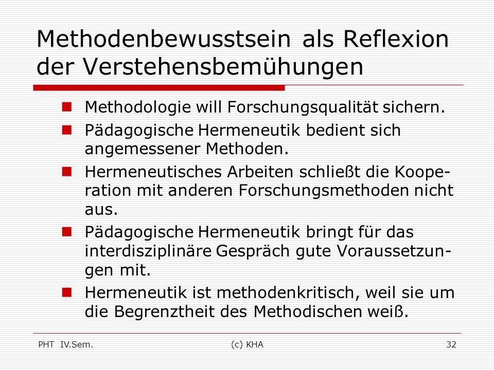 PHT IV.Sem.(c) KHA32 Methodenbewusstsein als Reflexion der Verstehensbemühungen Methodologie will Forschungsqualität sichern. Pädagogische Hermeneutik