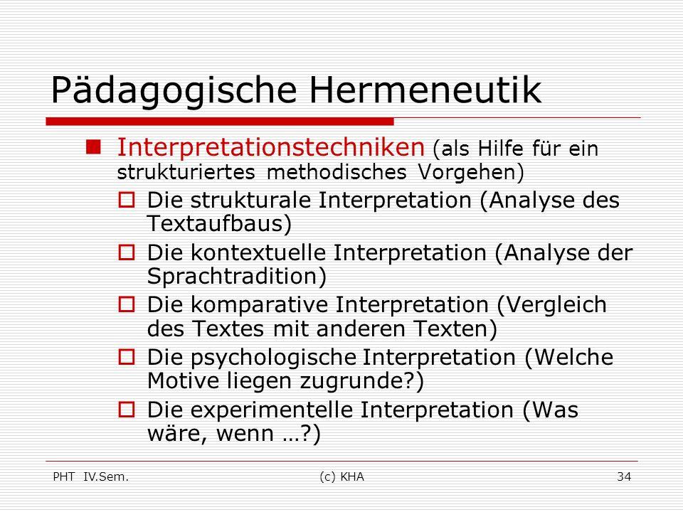 PHT IV.Sem.(c) KHA34 Pädagogische Hermeneutik Interpretationstechniken (als Hilfe für ein strukturiertes methodisches Vorgehen) Die strukturale Interp