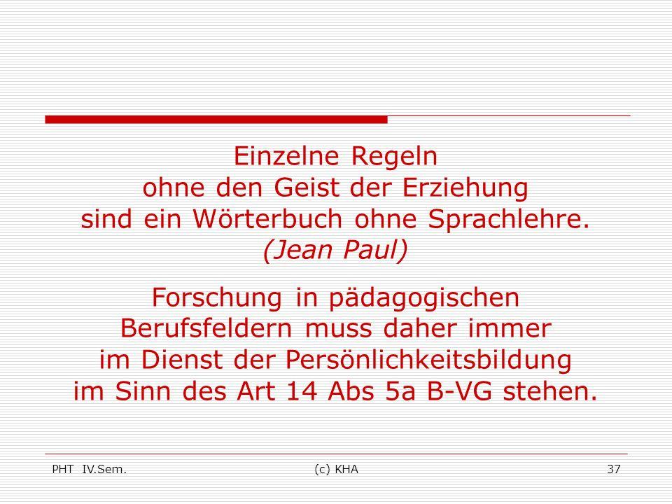 PHT IV.Sem.(c) KHA37 Einzelne Regeln ohne den Geist der Erziehung sind ein Wörterbuch ohne Sprachlehre. (Jean Paul) Forschung in pädagogischen Berufsf