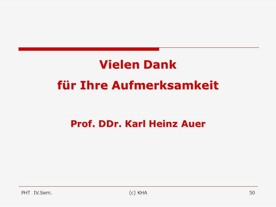 PHT IV.Sem.(c) KHA50 Vielen Dank für Ihre Aufmerksamkeit Prof. DDr. Karl Heinz Auer