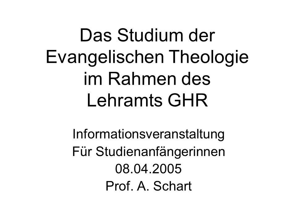 Das Studium der Evangelischen Theologie im Rahmen des Lehramts GHR Informationsveranstaltung Für Studienanfängerinnen 08.04.2005 Prof. A. Schart