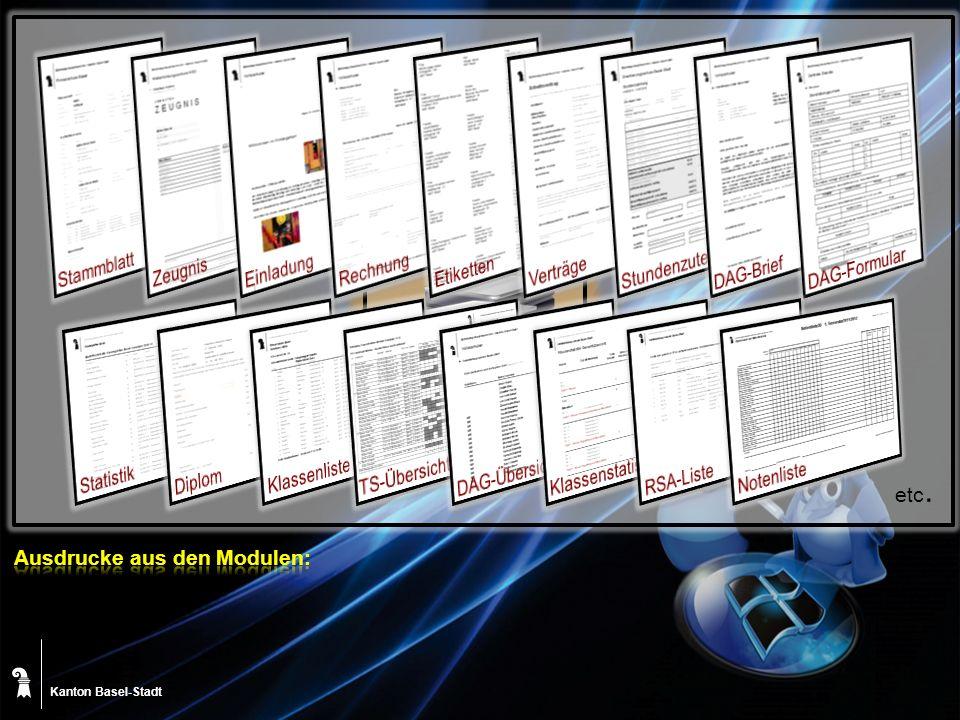 Kanton Basel-Stadt Software Lieferant Bereich Bildung Bereich Personal Pädagoisches Zentrum (PZ.BS) Zentrale Informatik Dienste (ZID) Statistisches Amt Schulen BS Fachstelle ICT