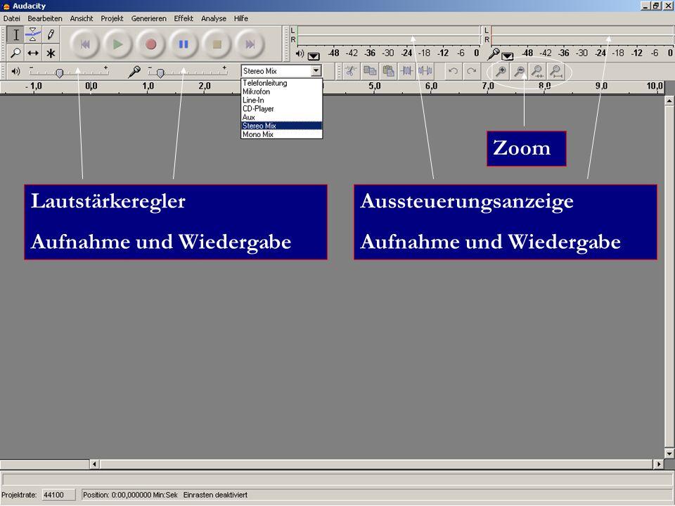 Zoom Aussteuerungsanzeige Aufnahme und Wiedergabe Lautstärkeregler Aufnahme und Wiedergabe