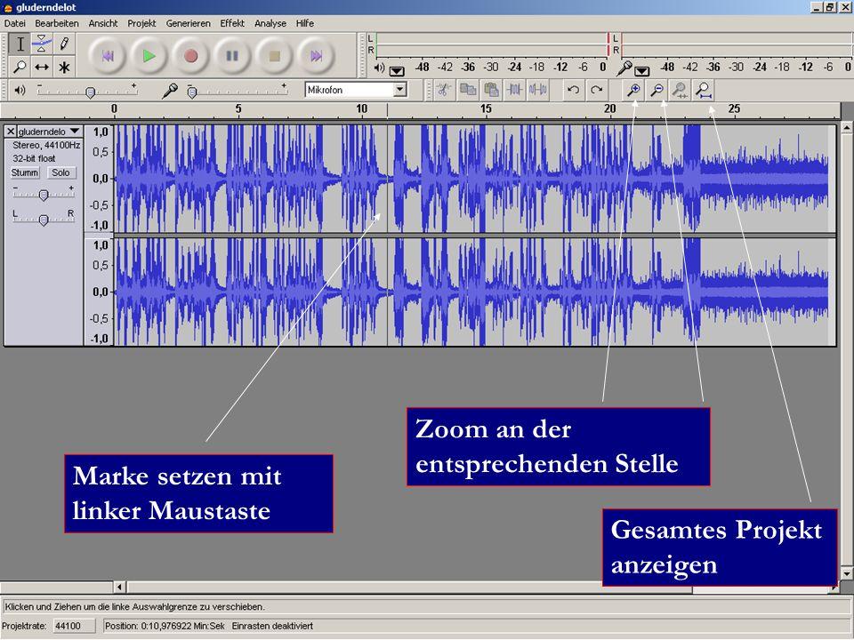 Marke setzen mit linker Maustaste Zoom an der entsprechenden Stelle Gesamtes Projekt anzeigen