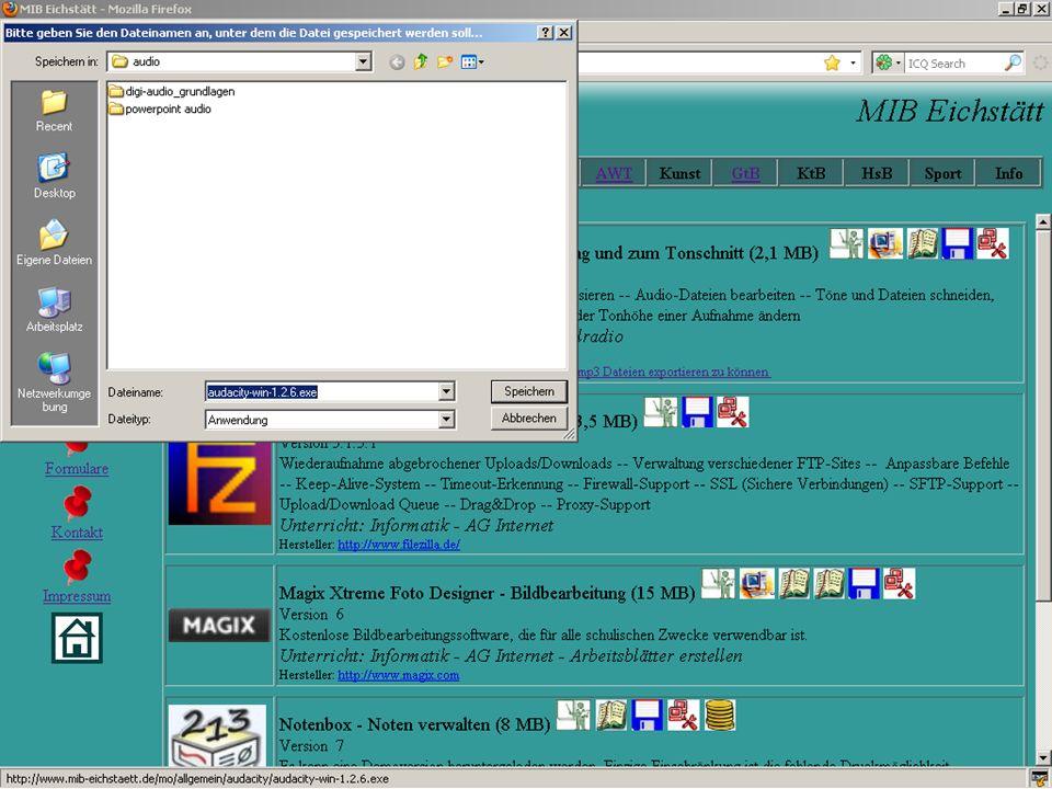 Aufnahme von externen Quellen Z.B.Schallplattenspieler, Diktiergerät Z.B.