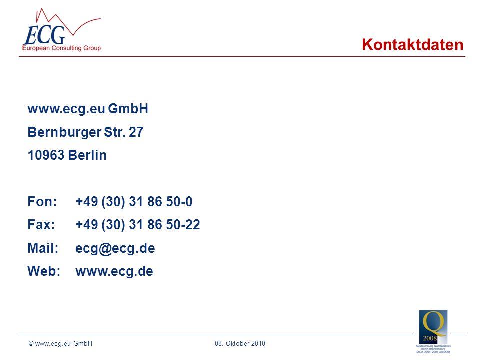 08. Oktober 2010 www.ecg.eu GmbH Bernburger Str.