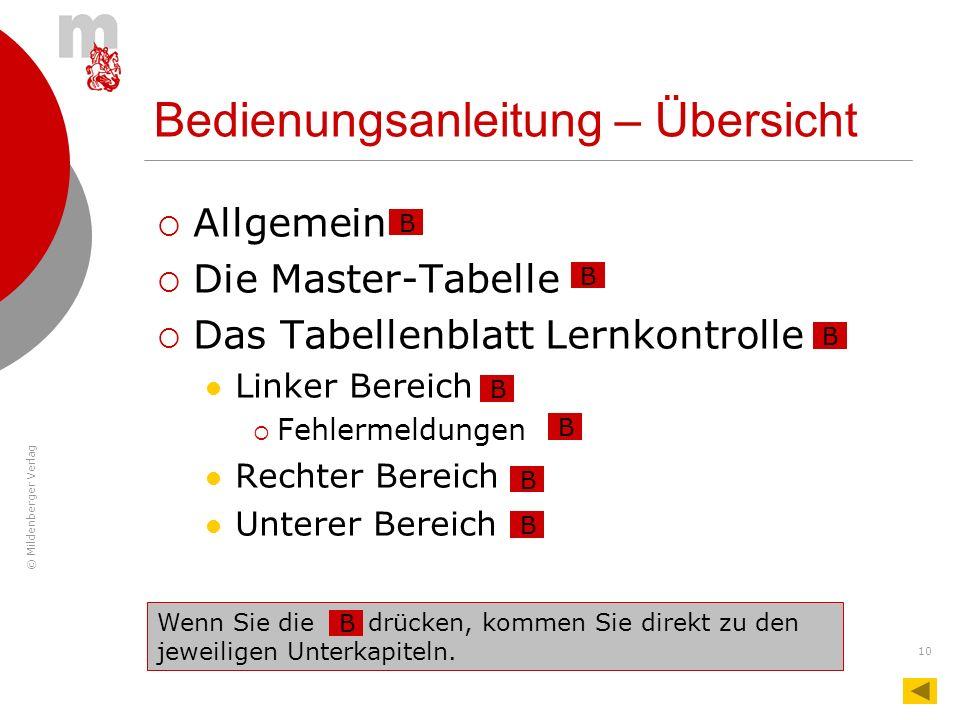 © Mildenberger Verlag 10 Bedienungsanleitung – Übersicht Allgemein Die Master-Tabelle Das Tabellenblatt Lernkontrolle Linker Bereich Fehlermeldungen R