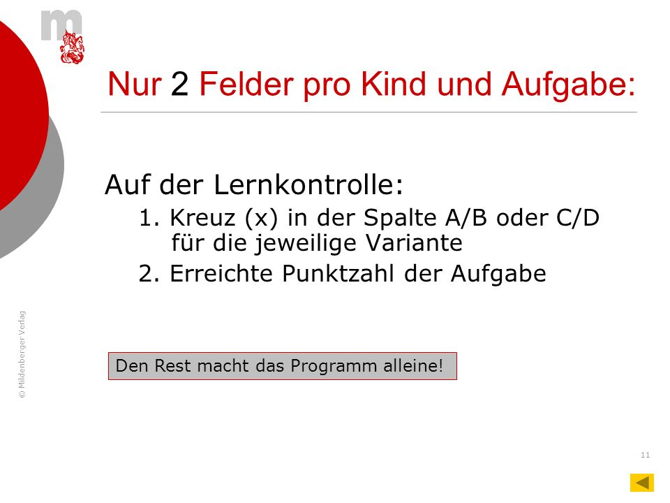 © Mildenberger Verlag 11 Nur 2 Felder pro Kind und Aufgabe: Auf der Lernkontrolle: 1. Kreuz (x) in der Spalte A/B oder C/D für die jeweilige Variante