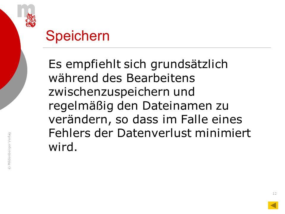 © Mildenberger Verlag 12 Speichern Es empfiehlt sich grundsätzlich während des Bearbeitens zwischenzuspeichern und regelmäßig den Dateinamen zu veränd