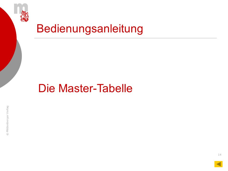 © Mildenberger Verlag 14 Bedienungsanleitung Die Master-Tabelle