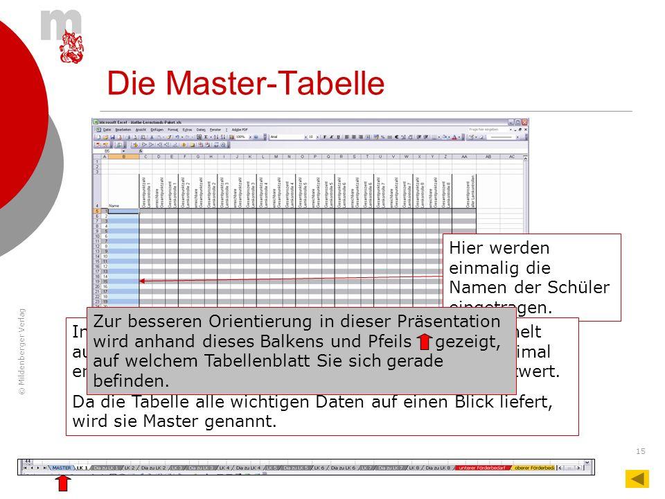 © Mildenberger Verlag 15 Hier werden einmalig die Namen der Schüler eingetragen. Die Master-Tabelle In der Master-Tabelle werden die Ergebnisse gesamm