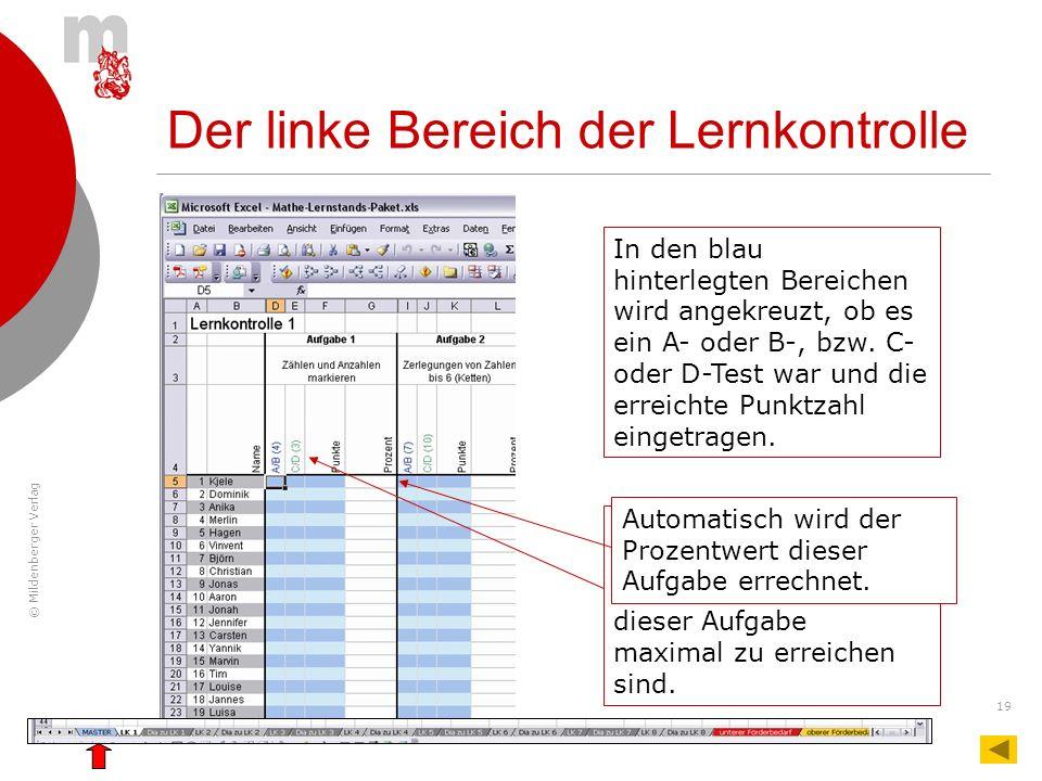 © Mildenberger Verlag 19 Der linke Bereich der Lernkontrolle In den blau hinterlegten Bereichen wird angekreuzt, ob es ein A- oder B-, bzw. C- oder D-