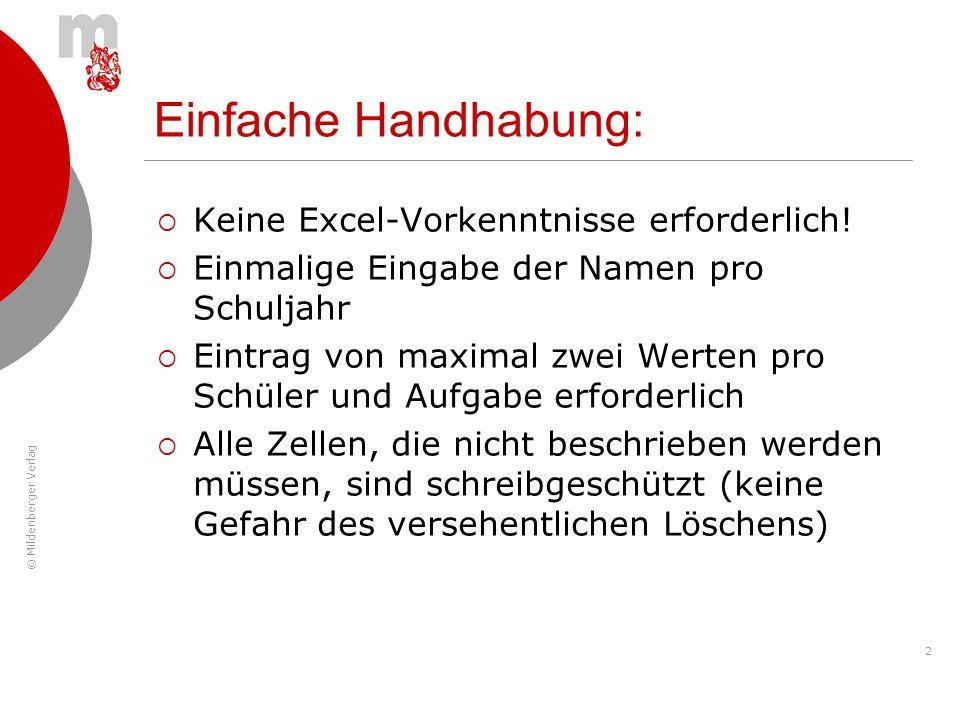 © Mildenberger Verlag 2 Keine Excel-Vorkenntnisse erforderlich! Einmalige Eingabe der Namen pro Schuljahr Eintrag von maximal zwei Werten pro Schüler