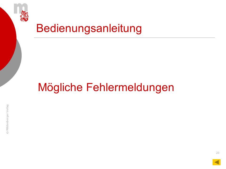 © Mildenberger Verlag 20 Bedienungsanleitung Mögliche Fehlermeldungen