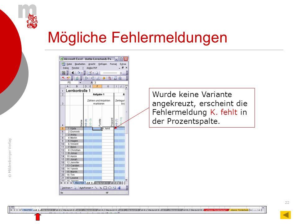 © Mildenberger Verlag 22 Wurde keine Variante angekreuzt, erscheint die Fehlermeldung K. fehlt in der Prozentspalte. Mögliche Fehlermeldungen