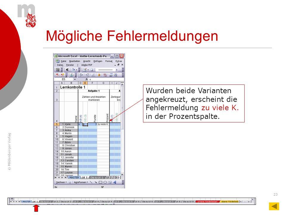 © Mildenberger Verlag 23 Wurden beide Varianten angekreuzt, erscheint die Fehlermeldung zu viele K. in der Prozentspalte. Mögliche Fehlermeldungen
