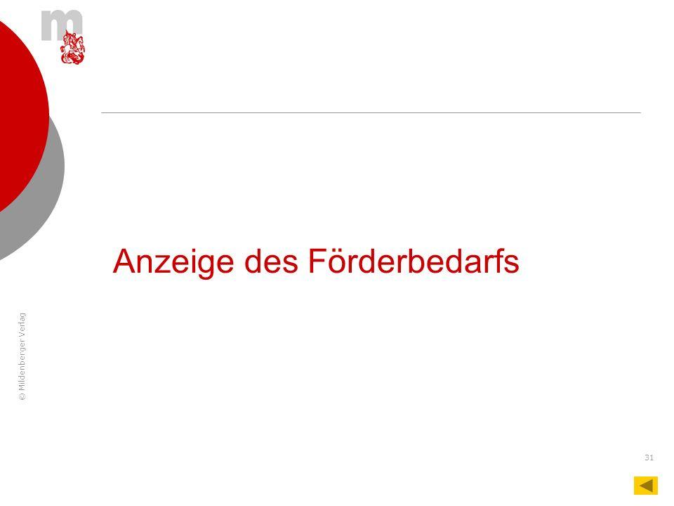 © Mildenberger Verlag 31 Anzeige des Förderbedarfs