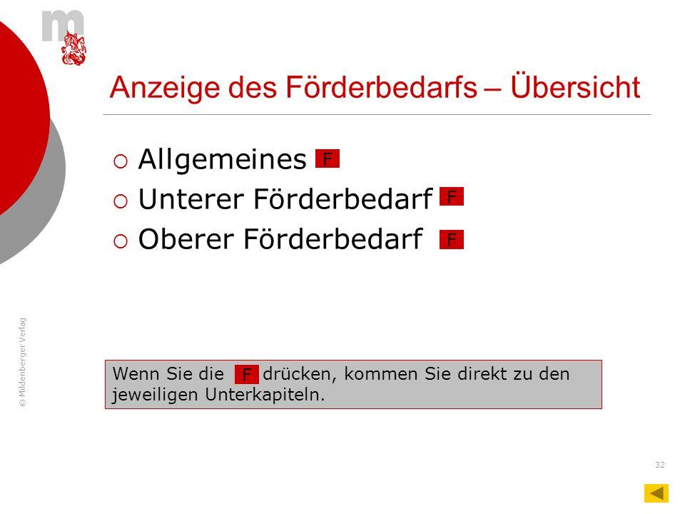 © Mildenberger Verlag 32 Anzeige des Förderbedarfs – Übersicht Allgemeines Unterer Förderbedarf Oberer Förderbedarf F F F Wenn Sie die … drücken, komm