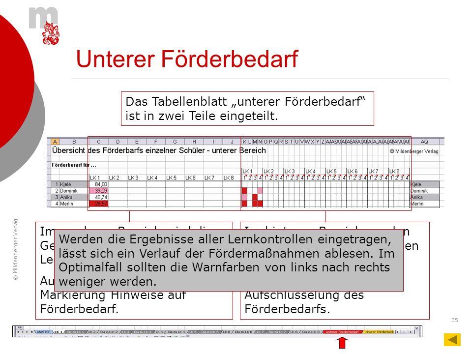 © Mildenberger Verlag 35 Im hinteren Bereich werden die Warnfarben der einzelnen Aufgaben angezeigt. Sie zeigen eine detaillierte Aufschlüsselung des