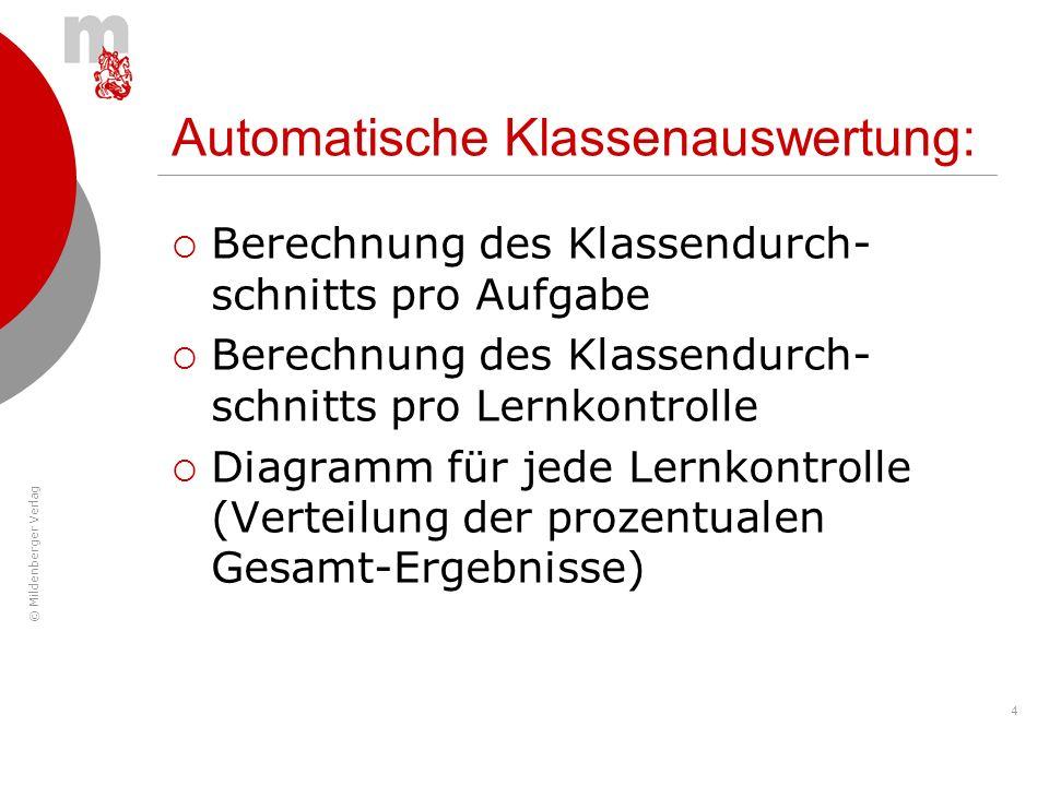 © Mildenberger Verlag 4 Automatische Klassenauswertung: Berechnung des Klassendurch- schnitts pro Aufgabe Berechnung des Klassendurch- schnitts pro Le