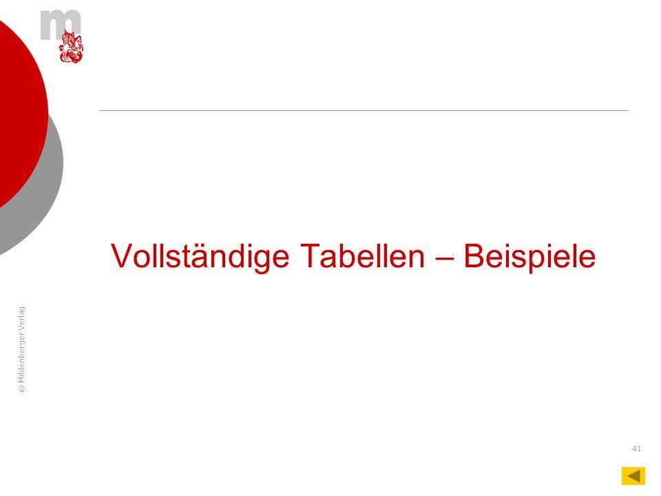 © Mildenberger Verlag 41 Vollständige Tabellen – Beispiele