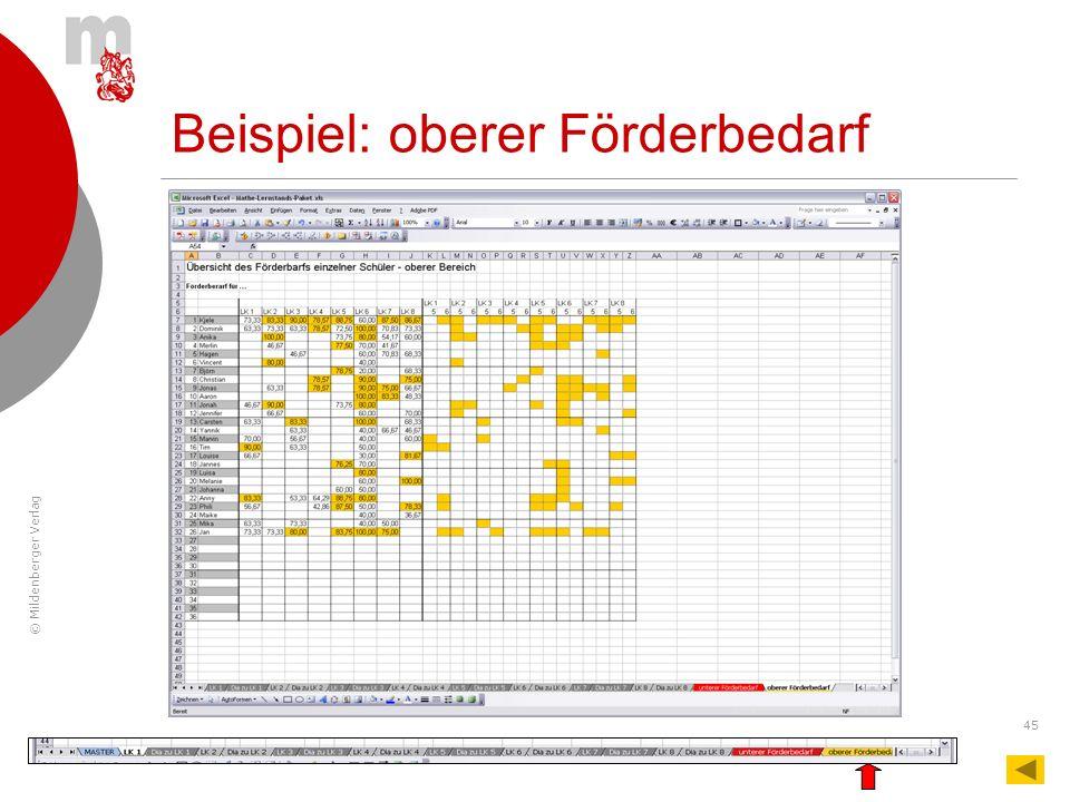 © Mildenberger Verlag 45 Beispiel: oberer Förderbedarf