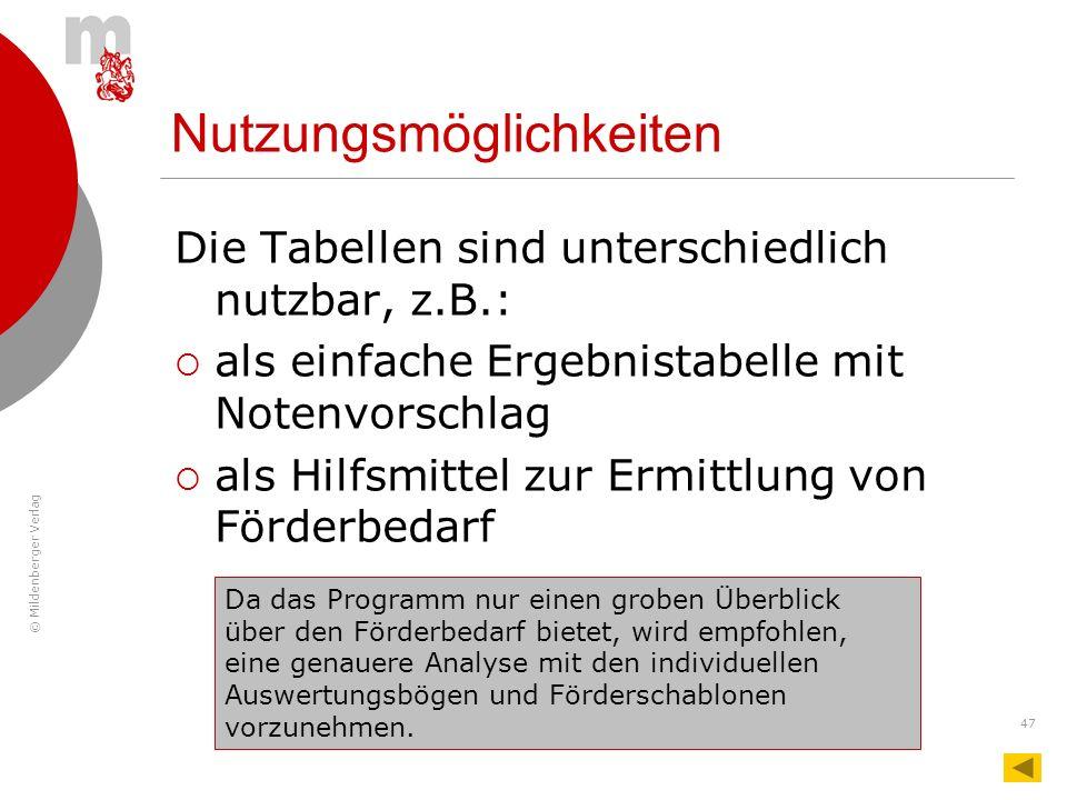 © Mildenberger Verlag 47 Nutzungsmöglichkeiten Die Tabellen sind unterschiedlich nutzbar, z.B.: als einfache Ergebnistabelle mit Notenvorschlag als Hi