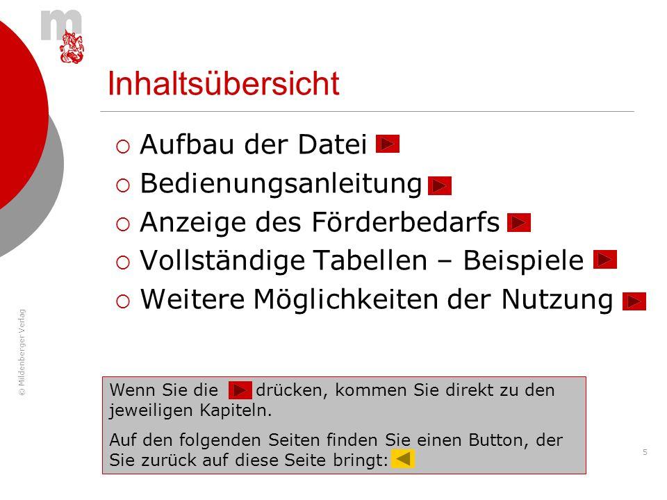 © Mildenberger Verlag 5 Inhaltsübersicht Aufbau der Datei Bedienungsanleitung Anzeige des Förderbedarfs Vollständige Tabellen – Beispiele Weitere Mögl