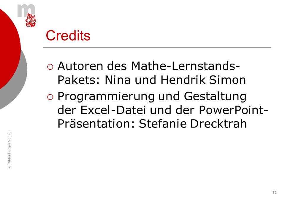 © Mildenberger Verlag 52 Autoren des Mathe-Lernstands- Pakets: Nina und Hendrik Simon Programmierung und Gestaltung der Excel-Datei und der PowerPoint