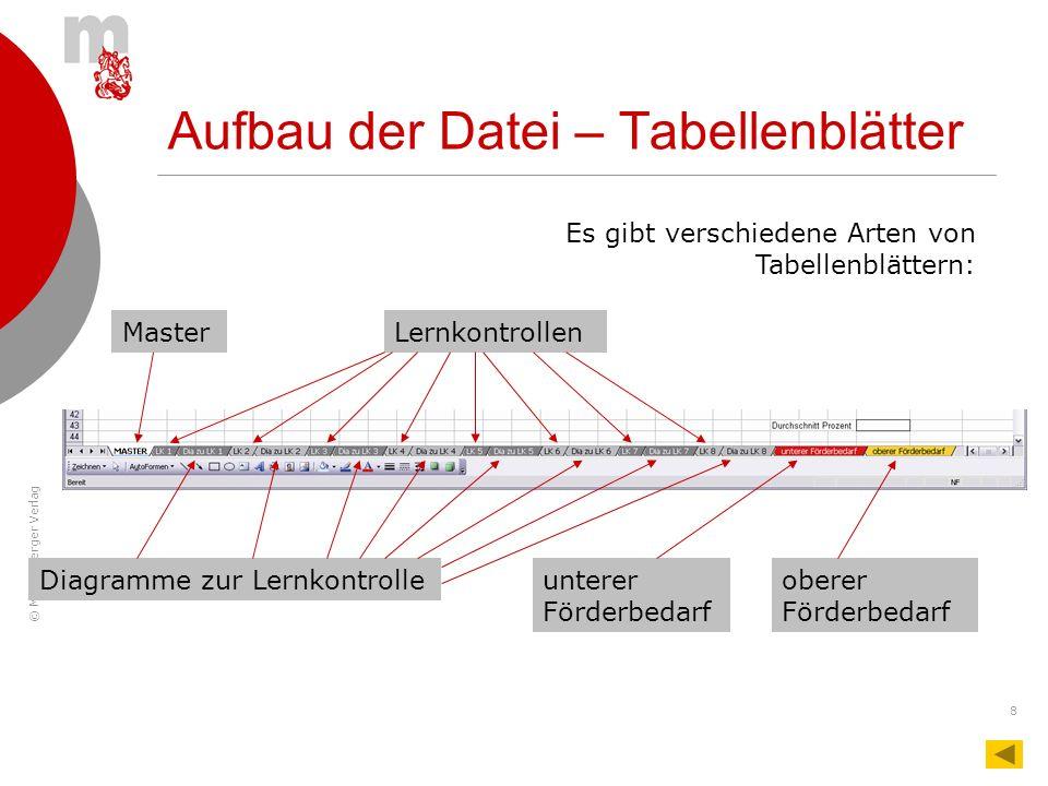 © Mildenberger Verlag 8 Aufbau der Datei – Tabellenblätter MasterLernkontrollen Diagramme zur Lernkontrolleunterer Förderbedarf oberer Förderbedarf Es