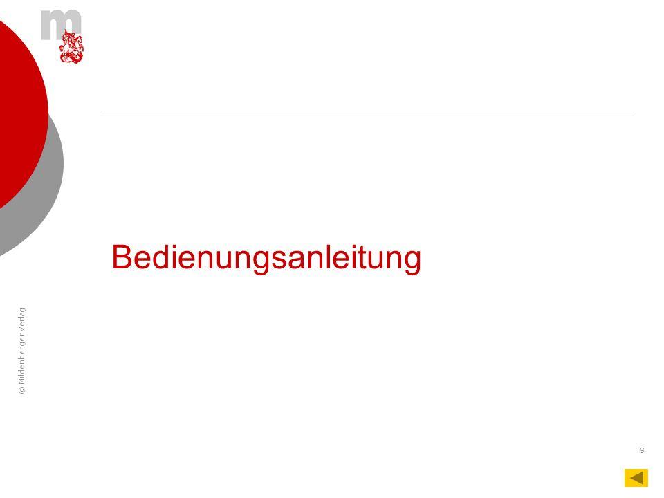 © Mildenberger Verlag 9 Bedienungsanleitung