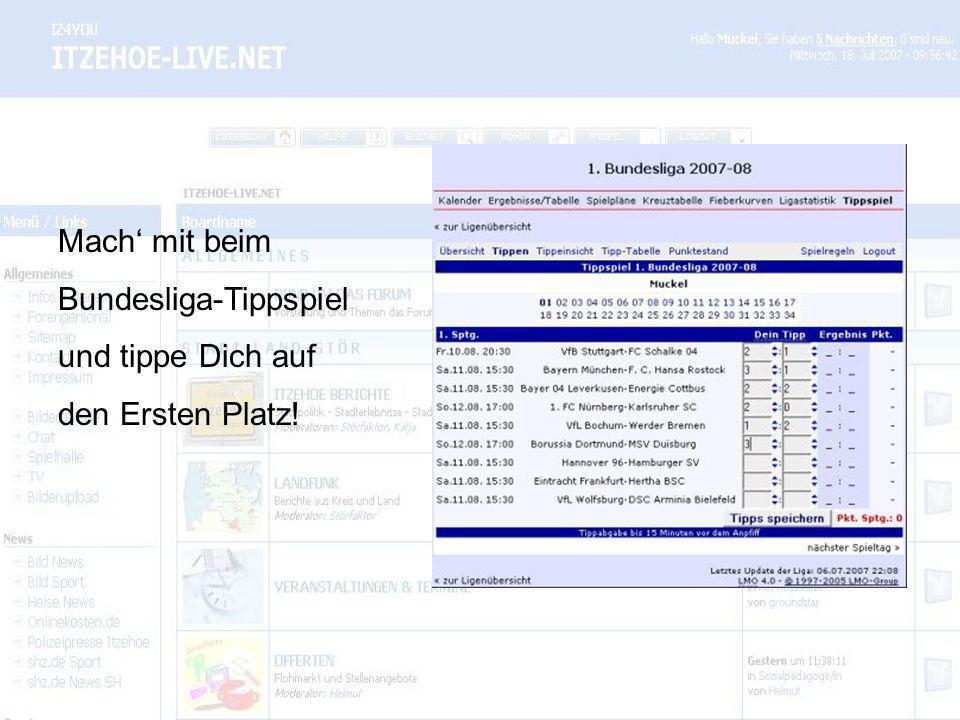 Mach mit beim Bundesliga-Tippspiel und tippe Dich auf den Ersten Platz!