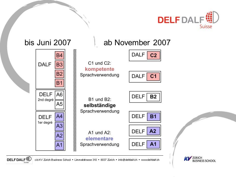Was ist neu? Neuer Aufbau der Prüfungen 1 Anmeldung = 4 Prüfungskomponenten = 1 Diplom 6 Niveaus (A1 - C2) Abstimmung auf den Europäischen Referenzrah