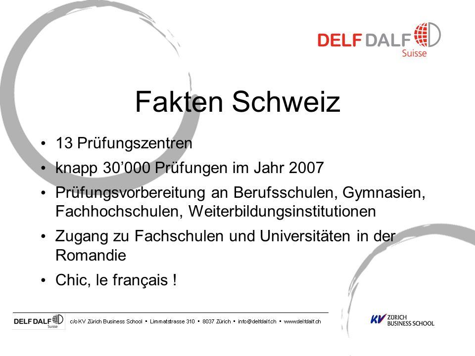 Fakten Schweiz 13 Prüfungszentren knapp 30000 Prüfungen im Jahr 2007 Prüfungsvorbereitung an Berufsschulen, Gymnasien, Fachhochschulen, Weiterbildungsinstitutionen Zugang zu Fachschulen und Universitäten in der Romandie Chic, le français !