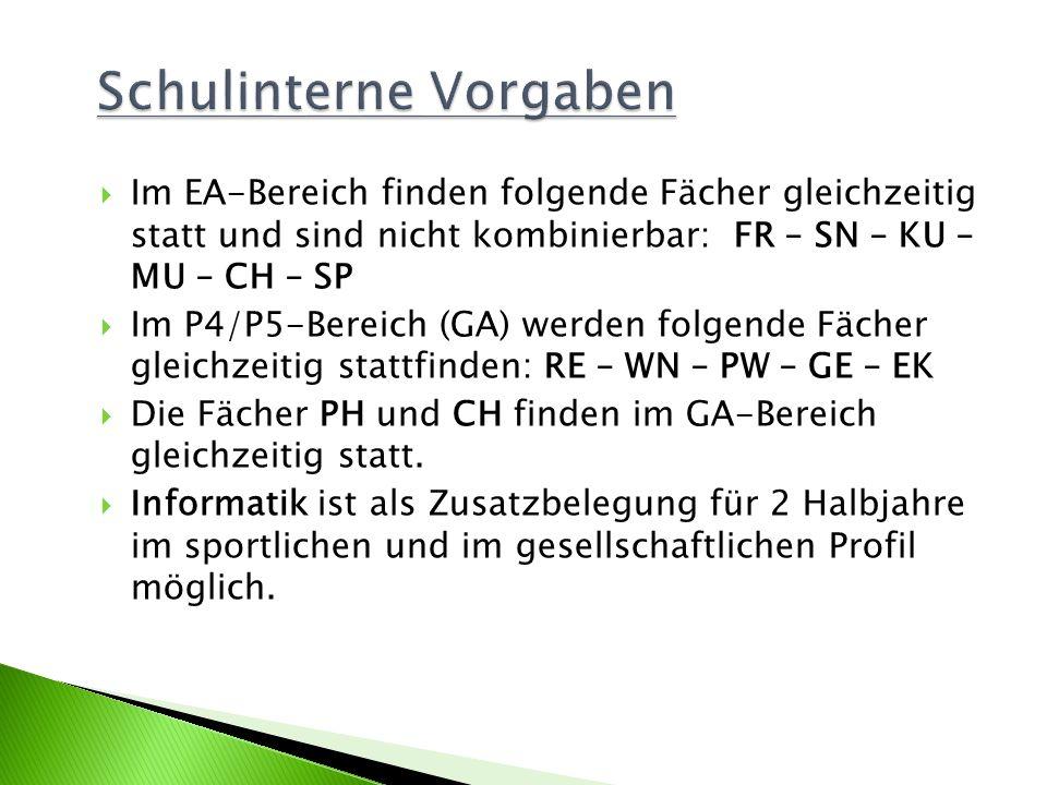 Im EA-Bereich finden folgende Fächer gleichzeitig statt und sind nicht kombinierbar: FR – SN – KU – MU – CH – SP Im P4/P5-Bereich (GA) werden folgende
