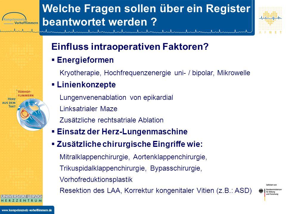 www.kompetenznetz-vorhofflimmern.de Welche Fragen sollen über ein Register beantwortet werden .