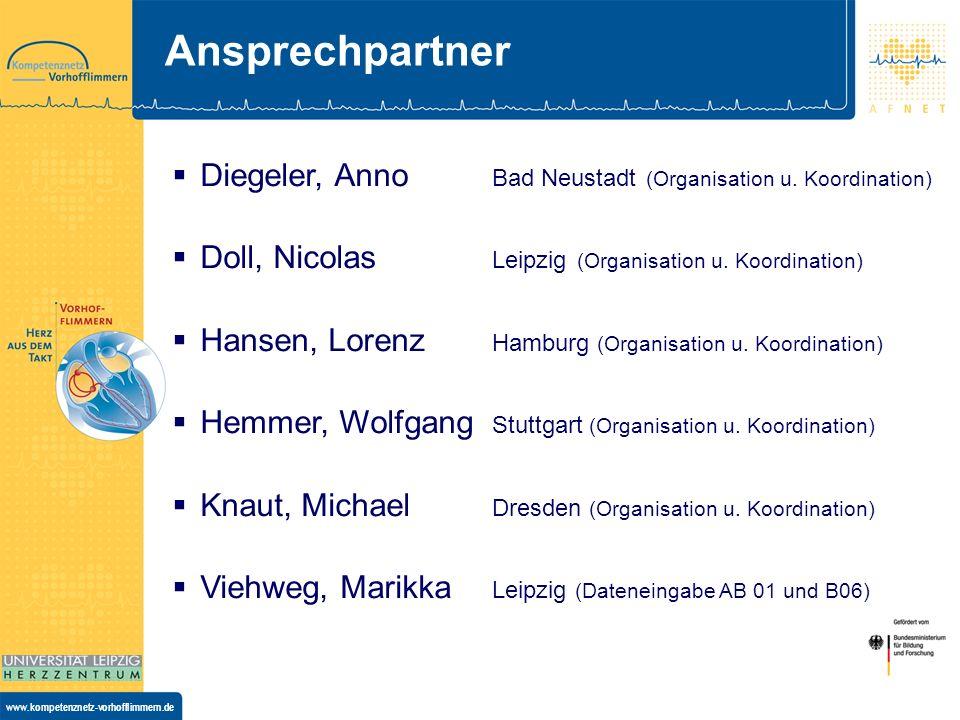 www.kompetenznetz-vorhofflimmern.de Ansprechpartner Diegeler, Anno Bad Neustadt (Organisation u. Koordination) Doll, Nicolas Leipzig (Organisation u.